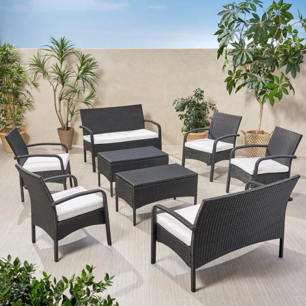Cordoba Black 8-Piece Wicker Patio Conversation Seating Set with White Cushions