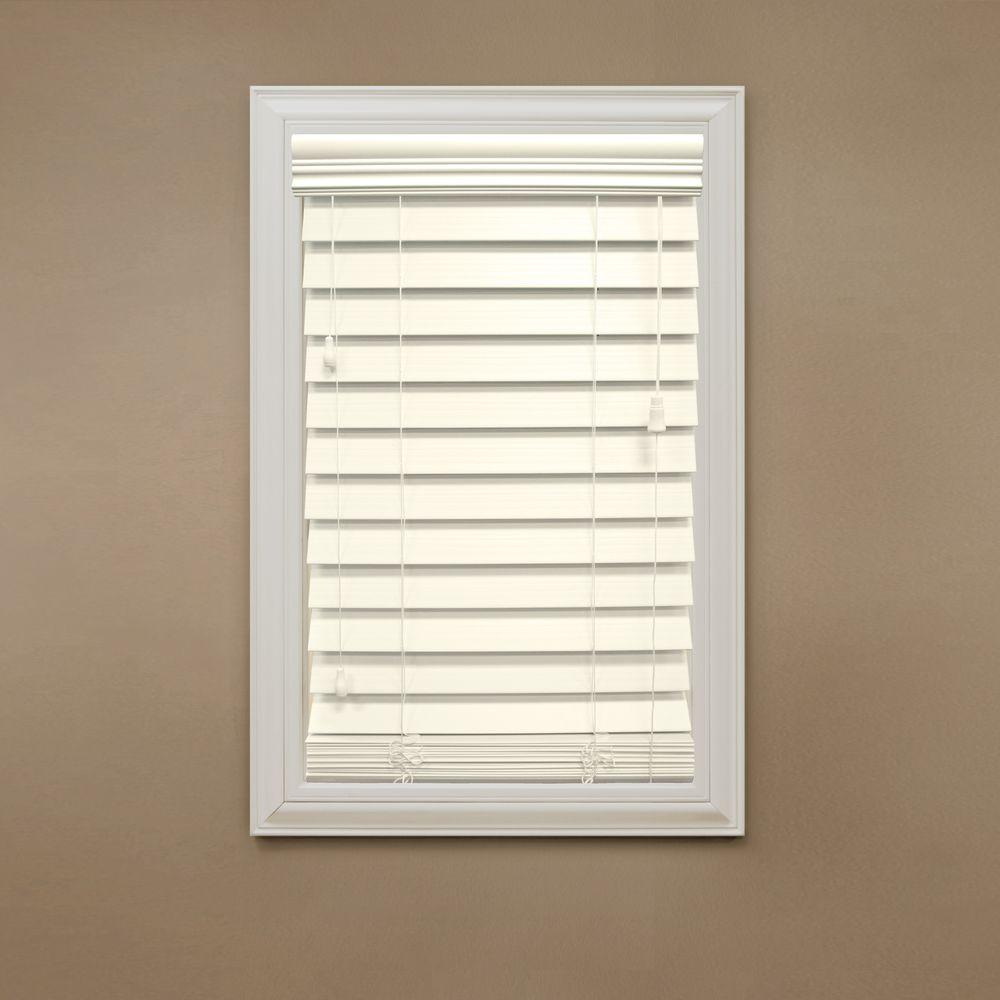 Home Decorators Collection Cut-to-Width Ivory 2-1/2 in. Premium Faux Wood Blind - 67.5 in. W x 64 in. L (Actual Size 67 in. W 64 in. L )