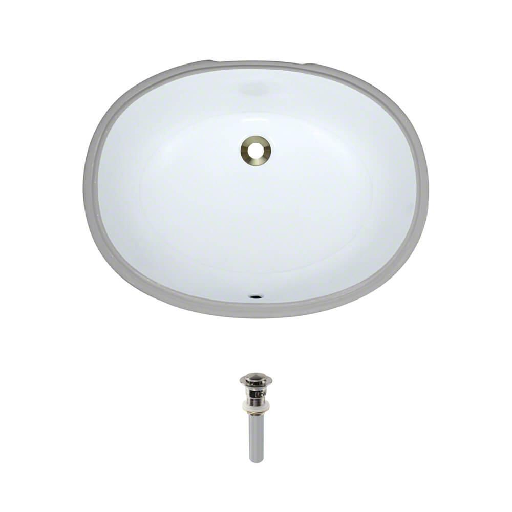 Under-Mount Porcelain Bathroom Sink in White with Pop-Up Drain in Brushed