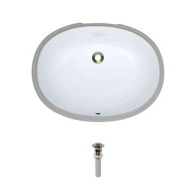 Under-Mount Porcelain Bathroom Sink in White with Pop-Up Drain in Brushed Nickel