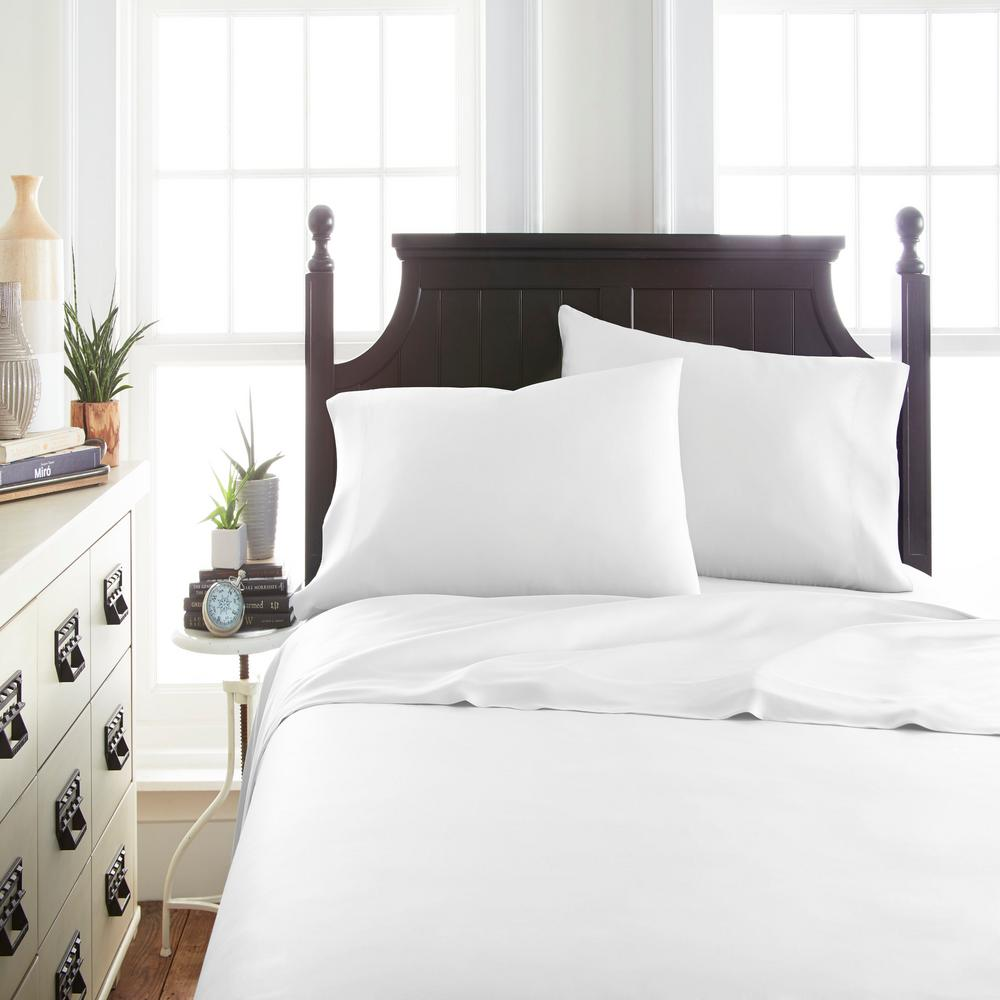 Becky Cameron Bamboo 4 Piece White Full Bed Sheet Set