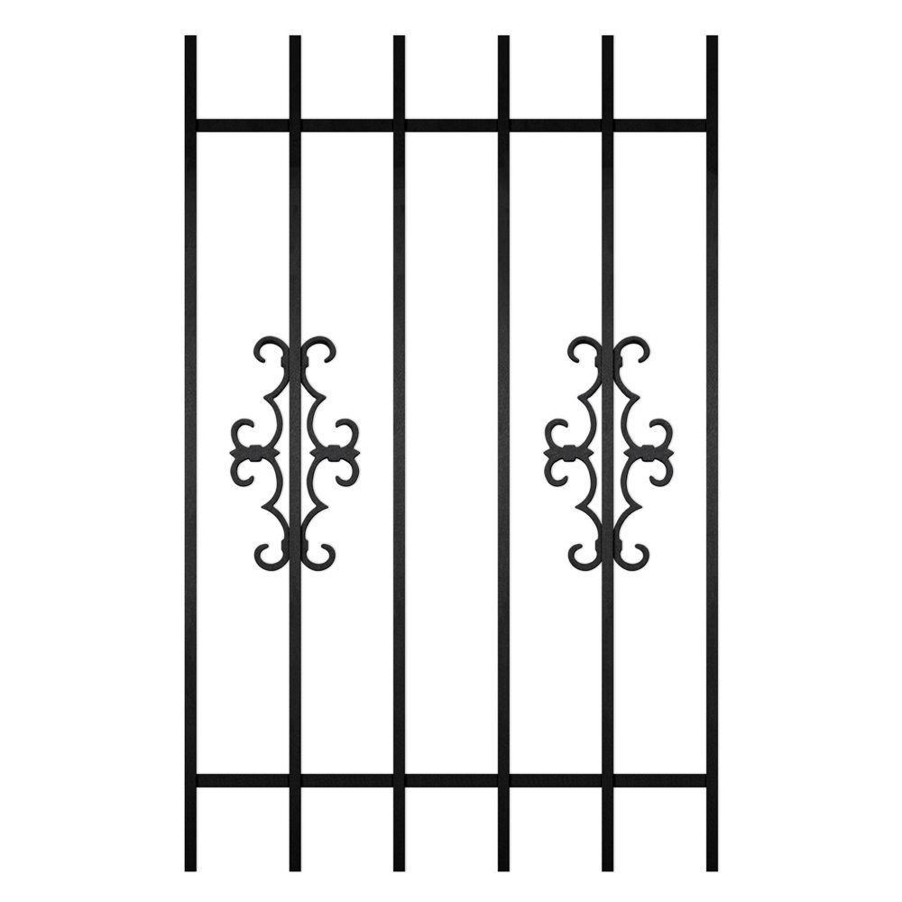 Unique Home Designs Watchman Trio 30 in. x 48 in. Black 6-Bar Window Guard-DISCONTINUED