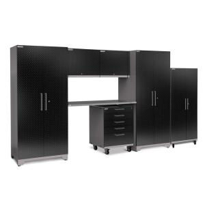NewAge Products Performance Plus Diamond Plate 2.0 80 In. H X 161 In. W X  24 In. D Garage Cabinet Set In Black (7 Piece) 55106   The Home Depot