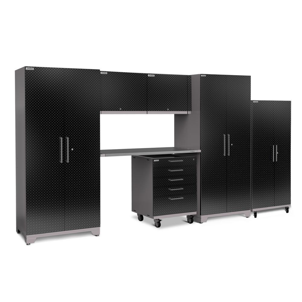 Performance Plus Diamond Plate 2.0 80 in. H x 161 in. W x 24 in. D Garage Cabinet Set in Black (7-Piece)