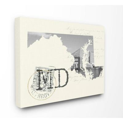 """30 in. x 40 in. """"Maryland Black and White Photograph on Cream Paper Postcard"""" by Daphne Polselli Canvas Wall Art"""