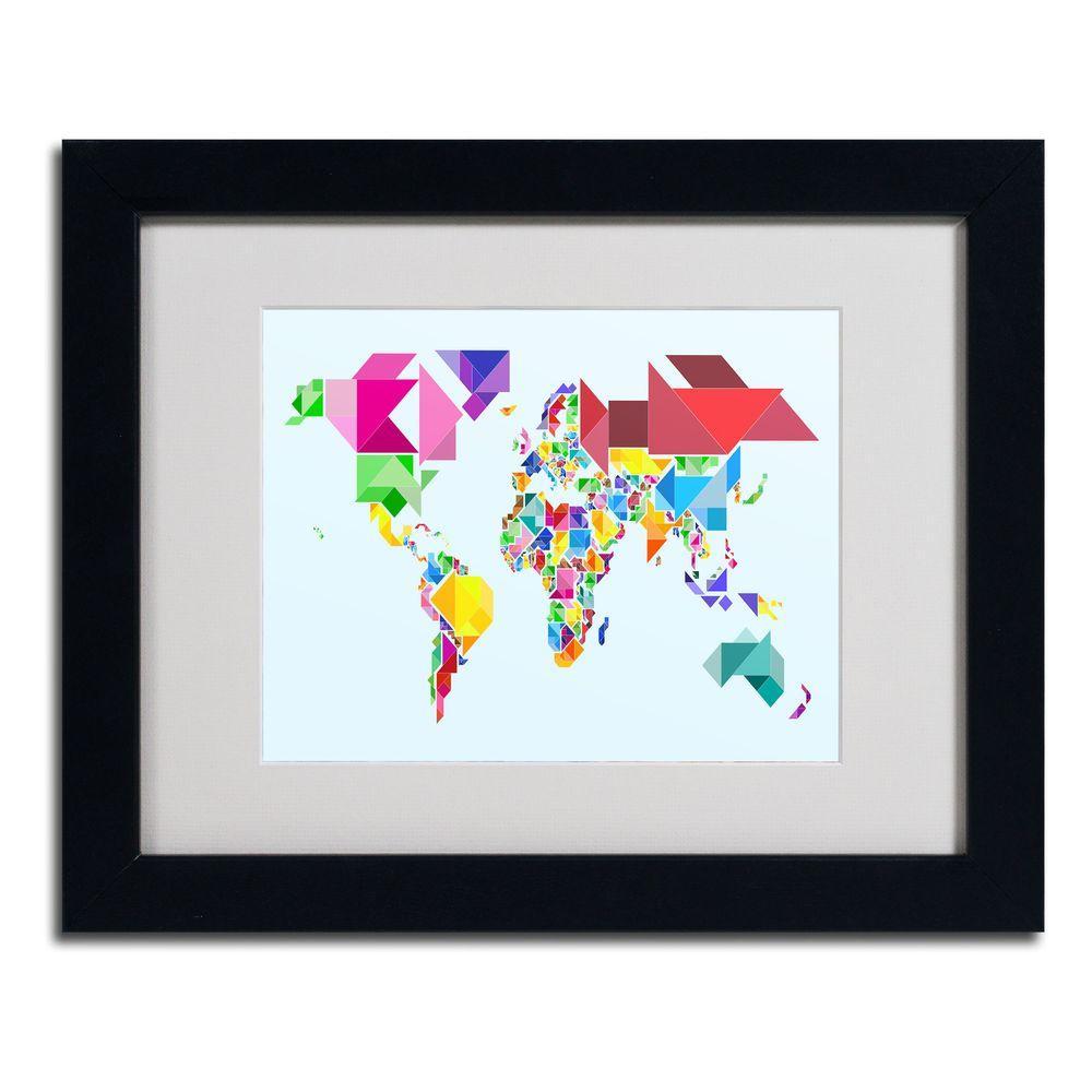 Trademark Fine Art 11 in. x 14 in. Tangram Worldmap Matted Framed Art