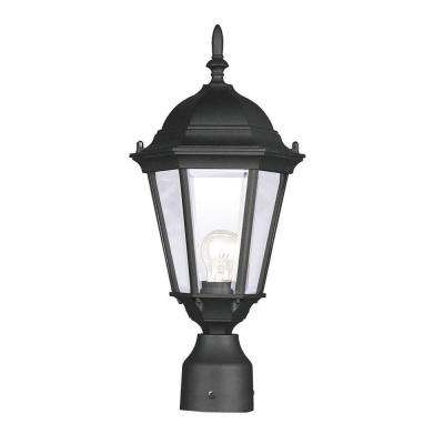 1-Light Outdoor Black Incandescent Post Lantern