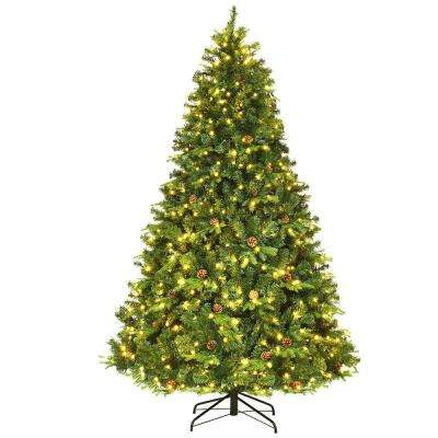 7.5 ft. Pre-Lit Artificial Christmas Tree Hinged with 540 LED Lights and Pine Cones