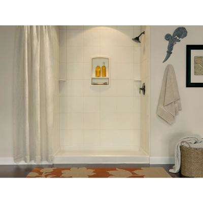 36 in. x 36 in. x 96 in. 3-Piece Solid Surface Square Tile Easy Up Adhesive Alcove Shower Surround in White