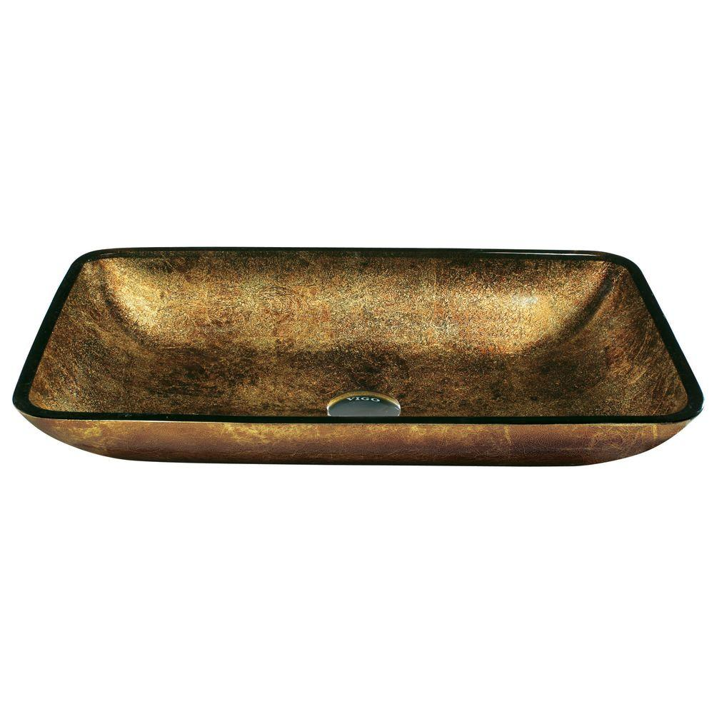 VIGO Copper Glass Vessel Sink in Greenish Brown