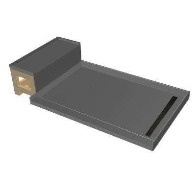 34 in. x 60 in. Single Threshold Shower Base in Gray and Bench Kit with Right Drain and Oil Rubbed Bronze Trench Grate