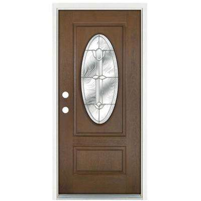 36 in. x 80 in. Medium Oak Right-Hand Inswing Flores Oval-Lite Prestige Stained Fiberglass Prehung Front Door