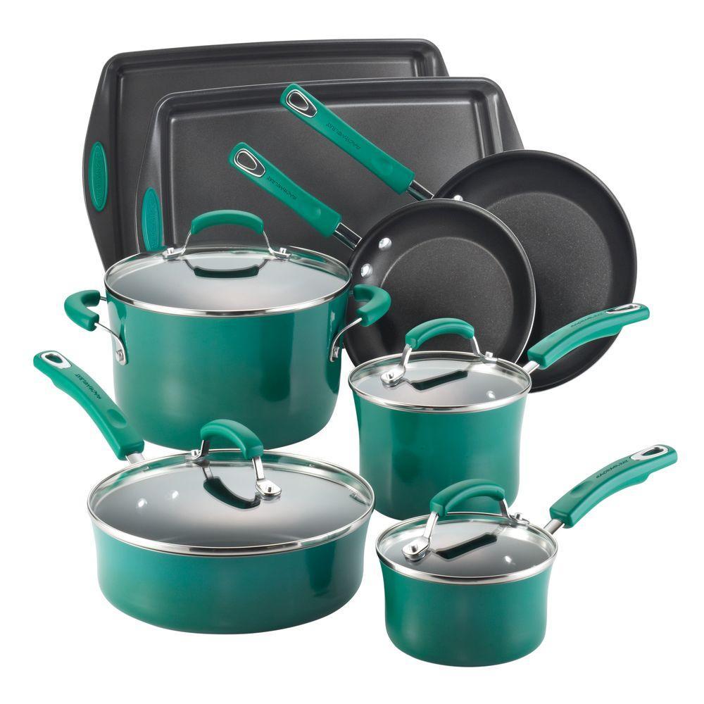 Rachael Ray Hard Enamel 12-Piece Cookware Set with Bakeware in Dark Green Gradient