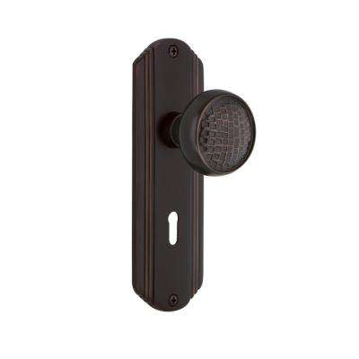Deco Plate with Keyhole 2-3/8 in. Backset Timeless Bronze Privacy Craftsman Door Knob