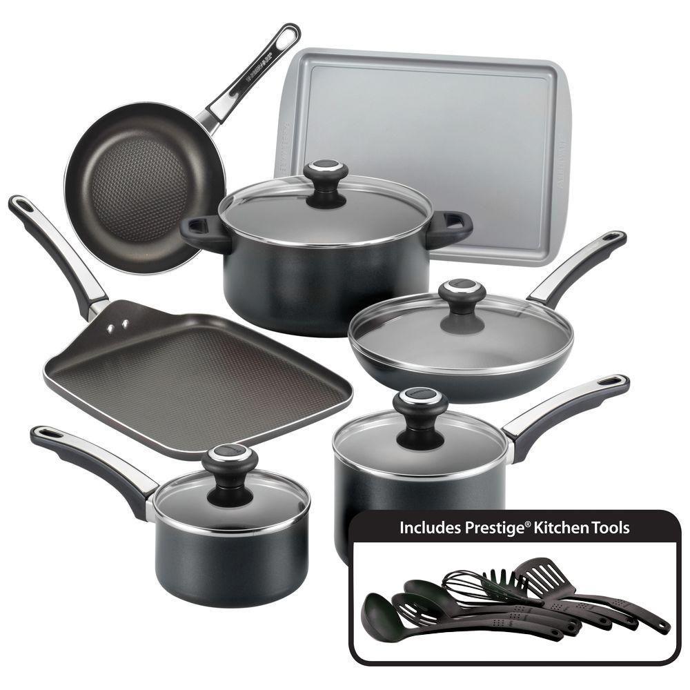 High Performance 17-Piece Aluminum Nonstick Cookware Set in Black