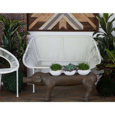 White Iron Framed Rattan Bench