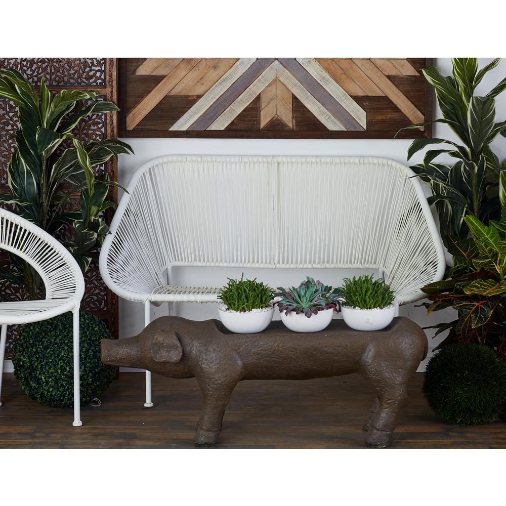 White Iron-Framed Rattan Bench