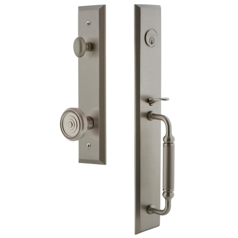 Fifth Avenue 2-3/8 in. Backset Satin Nickel 1-Piece Door Handleset with C-Grip and Soleil Knob