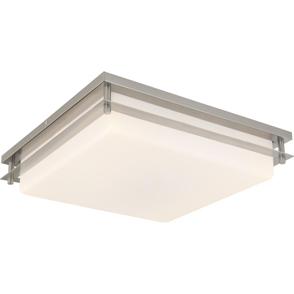 Volume Lighting Medium 1 Light Brushed Nickel Led Indoor Outdoor Bath Vanity Ceiling Flush Mount Wall Sconce Square White Shade