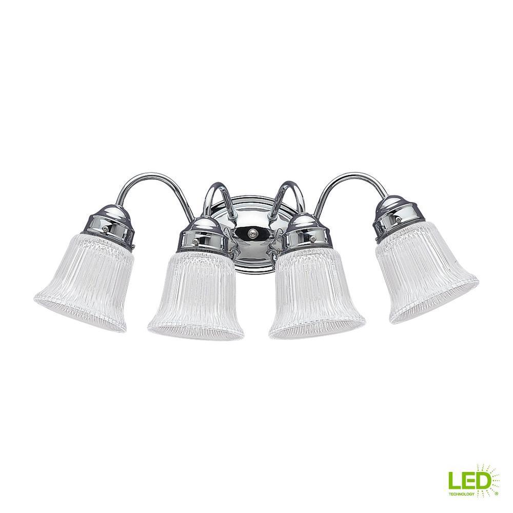 Brookchester 4-Light Chrome Bath Light with LED Bulbs