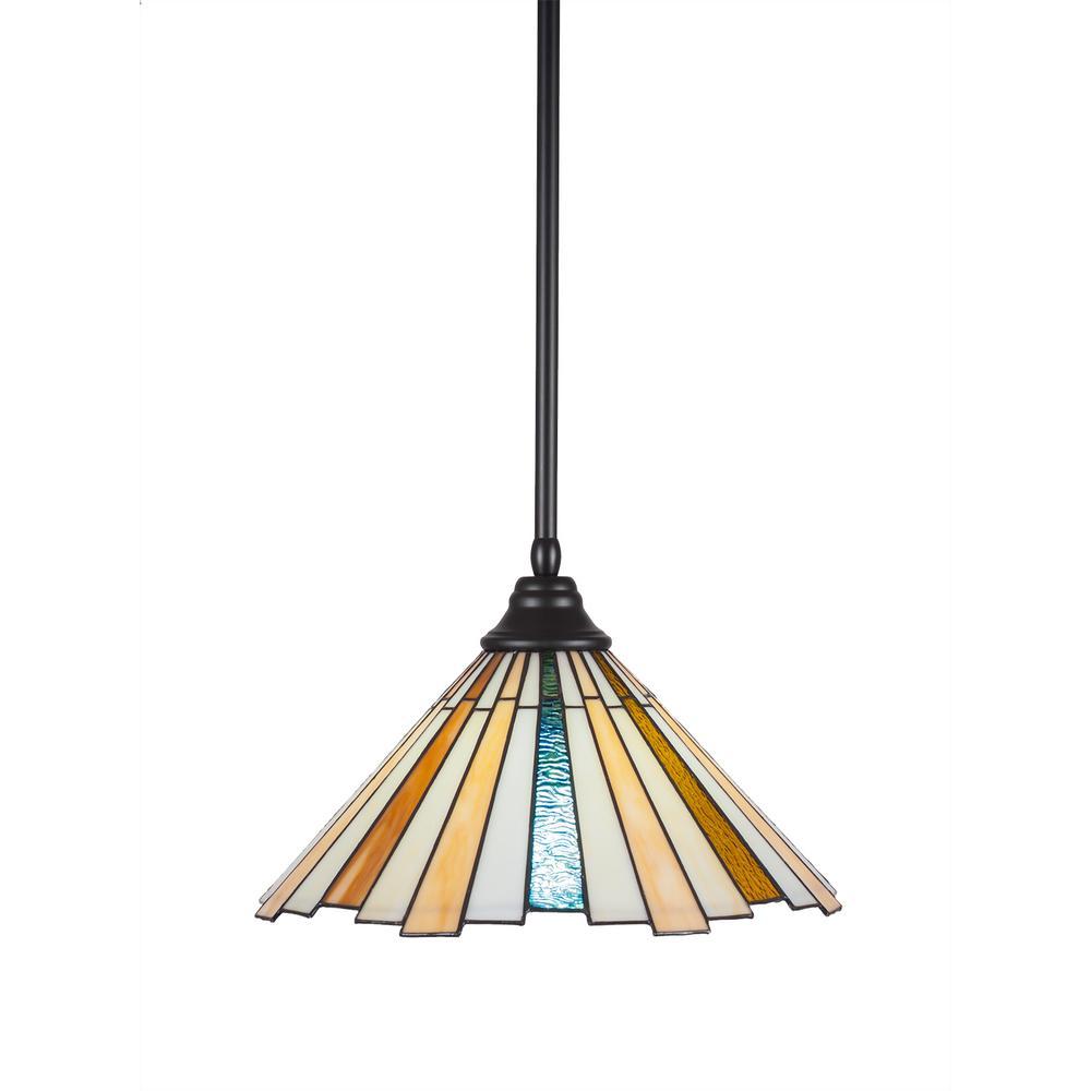 1-Light Matte Black Pendant with 16 in. Sequoia Tiff Glass