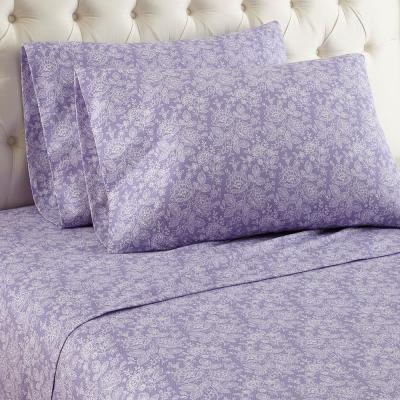 Micro Flannel 4-Piece Enchantment Violet Floral Queen Sheet Set