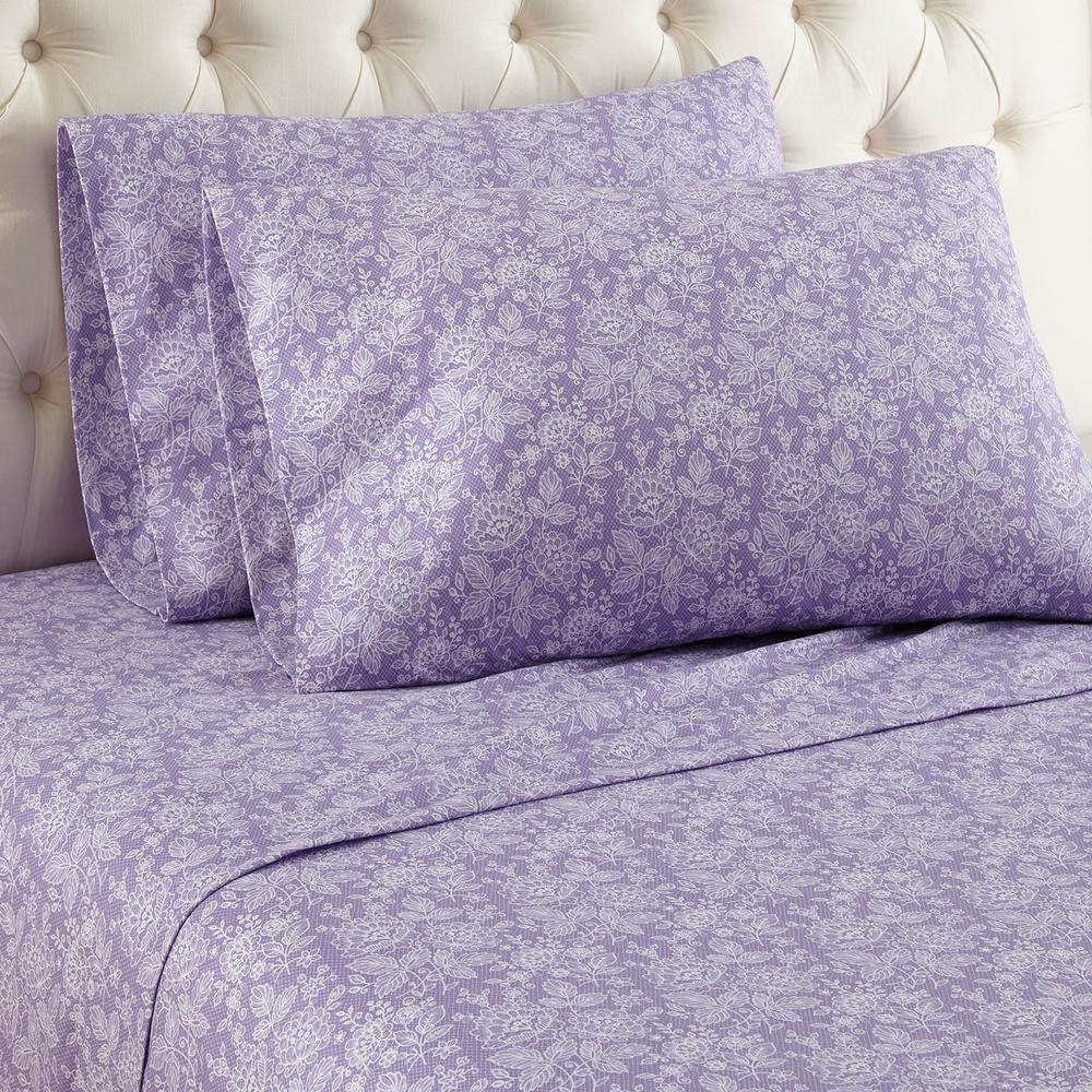 Micro Flannel 4-Piece Enchantment Violet Floral Queen Sheet Set