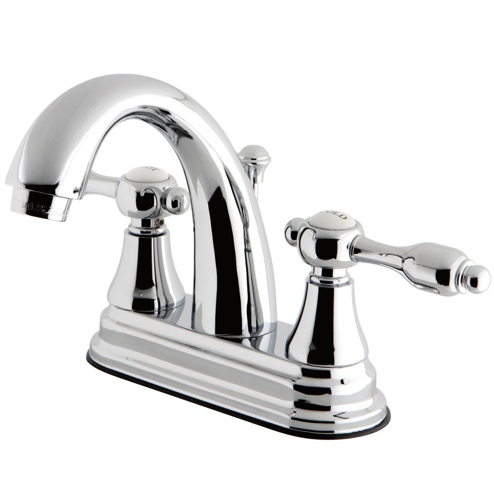 Tudor 4 in. Centerset 2-Handle High-Arc Bathroom Faucet in Polished Chrome