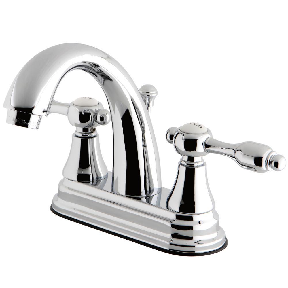 Tudor 4 in. Centerset 2-Handle High-Arc Bathroom Faucet in Polished Chrome