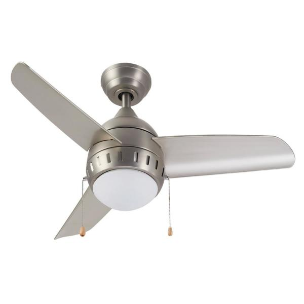 36 in. Integrated LED Brushed Nickel Indoor Ceiling Fan with Light Kit
