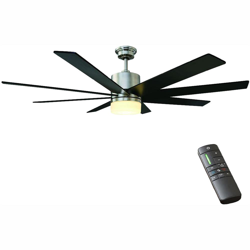 Home Decorators Collection Kingsbrook 60 In Led Indoor Brushed Nickel Ceiling Fan With Light Kit And Remote Control 51608 The Home Depot