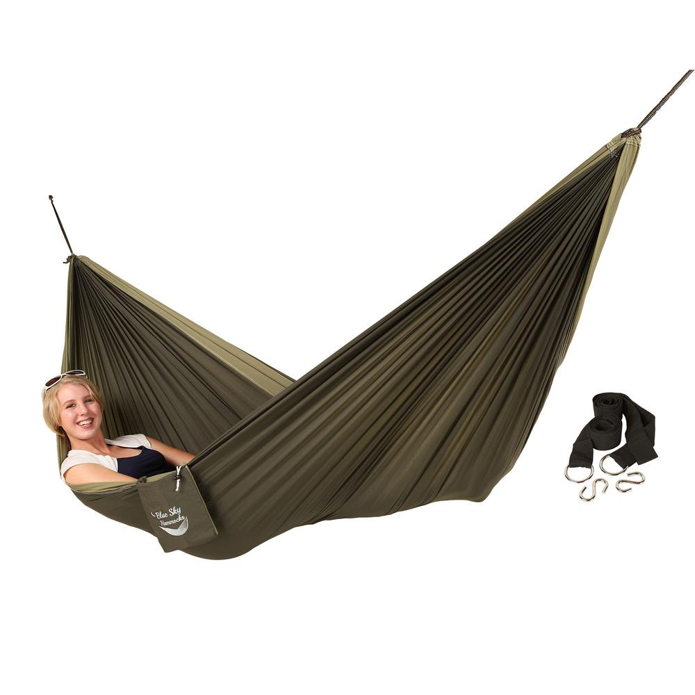 blue sky hammocks 6 5 ft  nylon couple u0027s double hammock with free tree straps qh00827   the home depot blue sky hammocks 6 5 ft  nylon couple u0027s double hammock with free      rh   homedepot