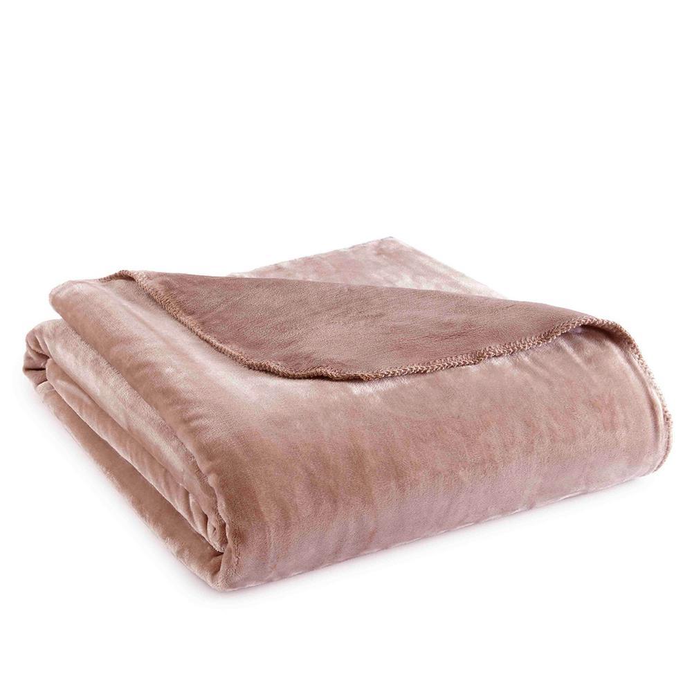 Twin Plush Latte Polyester Ultra Soft Blanket