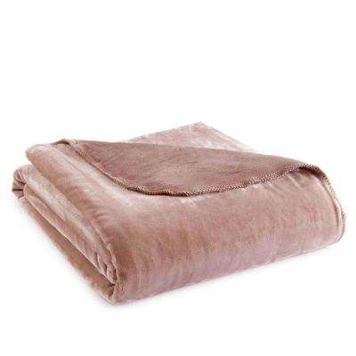 Queen Latte Polyester Ultra Soft Plush Blanket