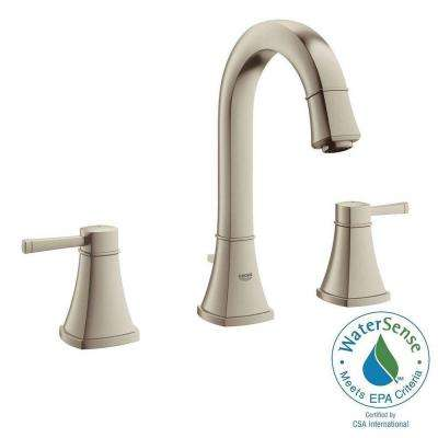 Grandera 8 in. Widespread 2-Handle High Arc Bathroom Faucet in Brushed Nickel Infinity Finish