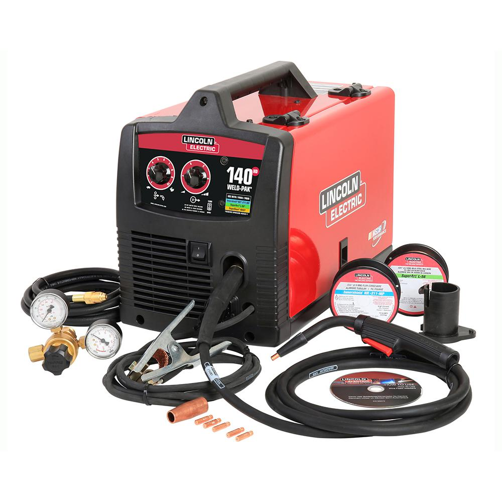 Lincoln Electric 140 Amp Weld Pak 140 HD MIG Wire Feed Welder with Magnum  100L Gun, Sample spools of MIG Wire and Flux Wire, 115V