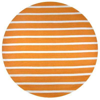 Azzura Hill Orange Striped 8 ft. x 8 ft. Round Outdoor Area Rug