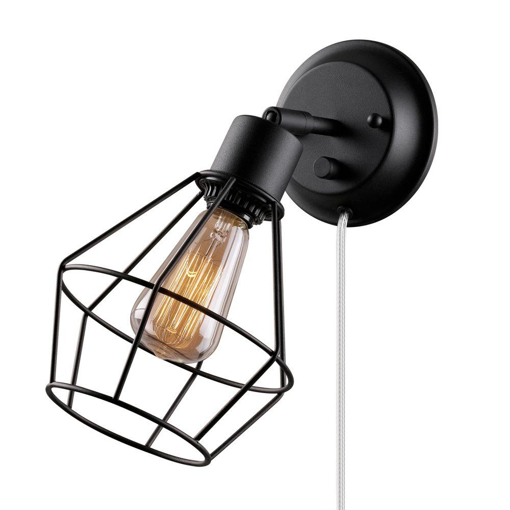 Globe electric 1 light black shade plug in wall sconce with clear globe electric 1 light black shade plug in wall sconce with clear 6 ft mozeypictures Image collections