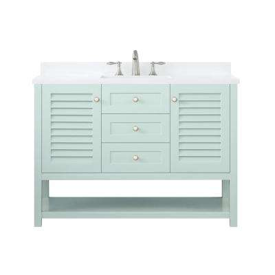 Grace 48 in. W x 22 in. D Bath Vanity in Minty Latte with Cultured Stone Vanity Top in White with White Basin