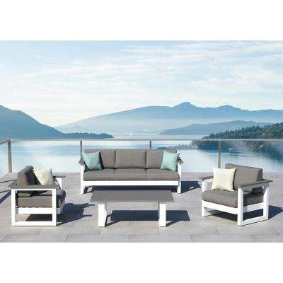 Lucas Grey 4-Piece Aluminum Patio Conversation Set with Grey Olefin Cushion