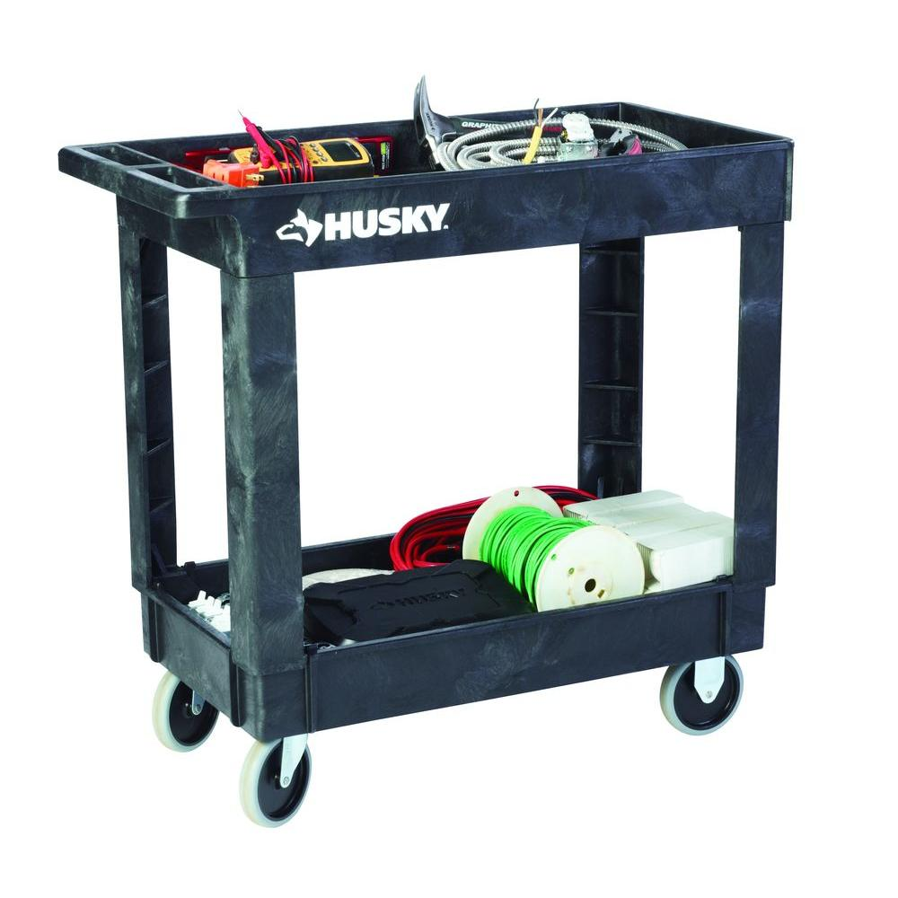 2 Shelf Utility Cart Black