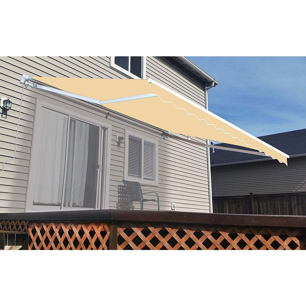 Aleko 13 Ft Manual Patio Retractable Awning 120 In Projection In Ivory Aw13x10ivory29 Hd The Home Depot