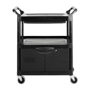 utility cart with lockable doors sliding drawer 4 in swivel caster in black