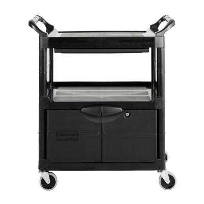 Rubbermaid Commercial Products Utility Cart with Lockable Doors, Sliding Drawer 4 inch Swivel Caster in Black by Rubbermaid Commercial Products