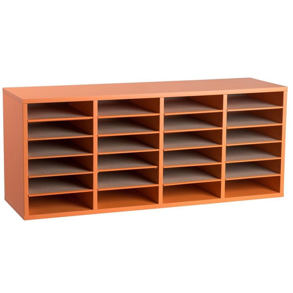 Wood Adjustable 24 Compartment Literature Organizer, Orange