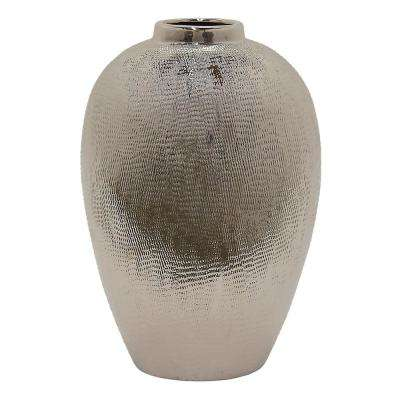 14 in. Silver Ceramic Decorative Vase