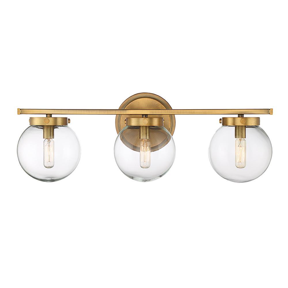 3-Light Natural Brass Bath Light with Clear Glass