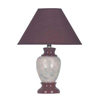 13 in. Ceramic Burgundy Table Lamp