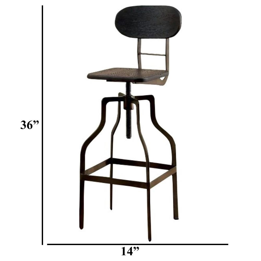 Superb 36 In Dark Brown And Black Wooden Industrial Swivel Bar Stool Andrewgaddart Wooden Chair Designs For Living Room Andrewgaddartcom