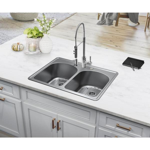 Ipt Sink Company Stainless Steel 33 In 20 Gauge Double Bowl Top Mount Kitchen Sink With Grid Set And Drain Assemblies Iptdp50eurp T The Home Depot